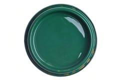 Tampa verde da lata da pintura isolada no branco imagens de stock