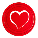 Tampa vermelha com coração Fotografia de Stock