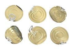 Tampas da lata de lata com abridor Fotografia de Stock