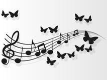 Tampas da música do projeto da imagem do vetor com notas e borboletas da música ilustração stock