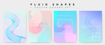 Tampas do cartaz ajustadas com formas fluidas Moderno moderno Memphis Patt Foto de Stock Royalty Free