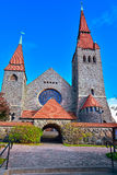 The Tampere cathedral. Medieval Tampere cathedral in Finland (Finnish Tampereen tuomiokirkko, Swedish Tammerfors domkyrka) is a church in Tampere, Finland and Royalty Free Stock Photography