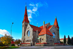 The Tampere cathedral. Medieval Tampere cathedral in Finland (Finnish Tampereen tuomiokirkko, Swedish Tammerfors domkyrka) is a church in Tampere, Finland and Royalty Free Stock Photos