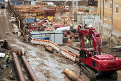 Tampere Deck and Arena project construction site. stock photos