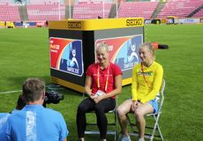 TAMPERE, FINLAND, July 12: Alina Shukh Ukraine in the IAAF World U20 Championship press conference in Tampere, Finland royalty free stock image