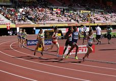 Athletes running 800 metres in the IAAF World U20 Championship in Tampere, Finland 10th July, 2018. stock images