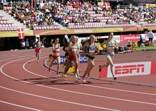 Athletes running 800 metres in the IAAF World U20 Championship in Tampere, Finland 10th July, 2018. stock photos