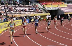 Athletes running 800 metres in the IAthletes running 800 metres in AAF World U20 Championship in Tampere, Finland 10th July, 2018. royalty free stock images
