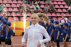 ELINA KINNUNEN from Finland on the javelin throw event in the IAAF World U20 Championship in Tampere, royalty free stock images
