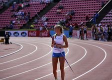 ELINA KINNUNEN from Finland on the javelin throw event in the IAAF World U20 Championship in Tampere, Finland 10th July, 2018. TAMPERE, FINLAND, July 10: ELINA royalty free stock photography
