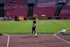 TAMPERE, FINLAND, July 10: Fabielle Samira FERREIRA from Finland on the javelin throw event in the IAAF World U20 Championship. In Tampere, Finland 10th July royalty free stock image