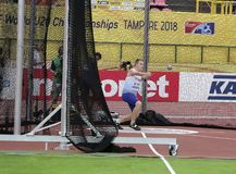 JAKE NORRIS GBR, English track and field athlete win gold medal in hammer throw in the IAAF World U20 Championship Tampere. TAMPERE, FINLAND, July 13: JAKE royalty free stock photography