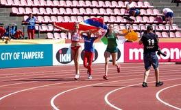 KARYNA TARANDA Belarus, MARÍA FERNANDA MURILLO Columbia, SOMMER LECKY Ireland - High jump winners on the IAAF World U20. TAMPERE, FINLAND, July 15: KARYNA royalty free stock photography