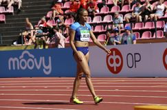 LAUREN RAIN WILLIAMS from USA win silver on 200 metres final in the IAAF World U20 Championship in Tampere, Finland 14 July, 2018 royalty free stock photography