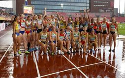 NIAMH EMERSON GBR, English track and field athlete win gold medal in heptathlon in the IAAF World U20 Championship Tampere, Fin. TAMPERE, FINLAND, July 13: NIAMH stock photo