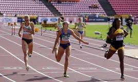 Sylvia SCHULZ, Brooke JAWORSKI and Sanique WALKER running 400 meters hurdles heats on the IAAF World U20 Championship in Tampere, stock image