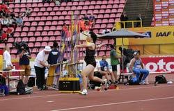 TOMOKA KUWAZOE JAPAN win silver medal in javelin throw final in the IAAF World U20 Championship in. TAMPERE, FINLAND, July 11: TOMOKA KUWAZOE JAPAN win silver stock photography