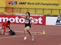 TOMOKA KUWAZOE JAPAN win silver medal in javelin throw final in the IAAF World U20 Championship in. TAMPERE, FINLAND, July 11: TOMOKA KUWAZOE JAPAN win silver stock photo