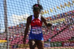 YARITZA MARTINEZ from Cuba win bronze medal in hammer throw final on the IAAF World U20 Championship Tampere, Finland. TAMPERE, FINLAND, July 14: YARITZA stock photography