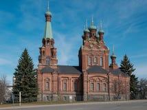 Tampere, Finnland, Ansicht der Kirche von Alexander Nevsky auf einem sonnigen Morgen Lizenzfreies Stockbild