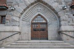 Tampere, Finnland, der zentrale Eingang zur Kathedrale von Tampere Lizenzfreies Stockfoto