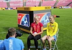 TAMPERE, FINNLAND, am 12. Juli: Alina Shukh Ukraine in der Meisterschafts-Pressekonferenz IAAF-Weltu20 in Tampere, Finnland Lizenzfreies Stockbild
