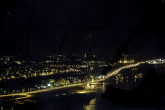 Tampere By Night. The night view of Tampere, Finland. The shot is taken from the Näsinneula view tower. Unfortunately, the lights were on and produced the royalty free stock images
