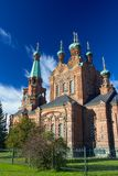 Tampere Orthodox Church with blue sky Royalty Free Stock Photo