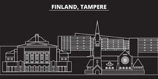 Tampere silhouette skyline. Finland - Tampere vector city, finnish linear architecture, buildings. Tampere travel vector illustration