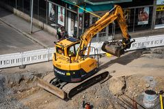Tampere tramline construction- Hyundai tracked excavator Royalty Free Stock Images