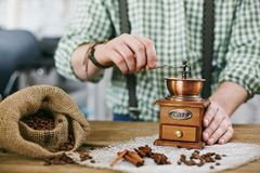 Tampering coffee beans Royalty Free Stock Image