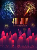 Tamplate, Banner or flyer for 4th of July celebration. Template, Banner or Flyer design with city view and firework explosion for 4th of July, American Stock Image