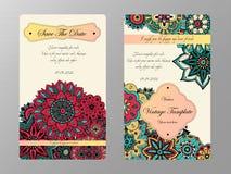 Tamplate de carte de vintage Invitation de mariage, carte pour vos affaires Photo stock