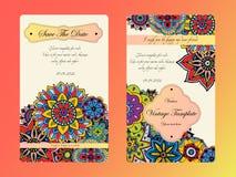 Tamplate do cartão do vintage Convite do casamento, cartão para seu negócio Fotos de Stock
