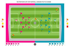 Tamplate for Football tactic scheme. Vector tamplate for Football Soccer tactic colored scheme Royalty Free Stock Photo