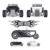 Tamplates del coche del coche de carreras para los iconos y emblemas aislados en el fondo blanco Fotografía de archivo