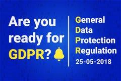TampleGDPR - proteção de dados geral Texto: É você apronta-se para GDPR calendário com lembrete Vetor Fotos de Stock