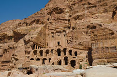 Tamples of the city of Petra. Walking between construction of the abandoned city of Petra in Jordan Stock Photo