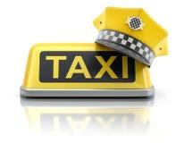 Tampão amarelo do taxista no sinal do telhado do carro do táxi Imagens de Stock