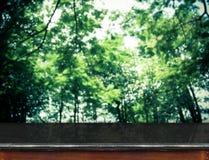 Tampo da mesa de mármore preto vazio no grupo borrado de árvores, molde Foto de Stock