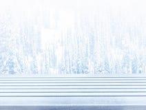 Tampo da mesa de madeira da plataforma da neve vazia pronto para o monta da exposição do produto Fotografia de Stock Royalty Free