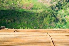 Tampo da mesa de madeira na plantação de chá Fotos de Stock