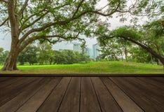 Tampo da mesa de madeira no jardim no fundo da cidade fotos de stock royalty free