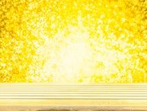 Tampo da mesa de madeira vazio da plataforma pronto para a montagem da exposição do produto com fundo amarelo do bokeh da ilumina Imagem de Stock
