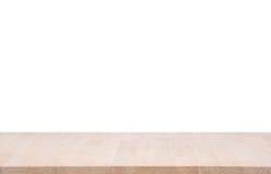 Tampo da mesa de madeira vazio no fundo branco imagens de stock