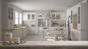 Tampo da mesa ou prateleira de madeira do vintage com velas e seixos, humor do zen, sobre a cozinha clássica escandinava com mesa ilustração stock
