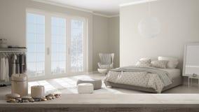Tampo da mesa ou prateleira de madeira do vintage com velas e seixos, humor do zen, sobre o quarto confortável com o assoalho de  ilustração stock