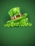 Tampão de Saint Patrick no trevo Imagens de Stock Royalty Free