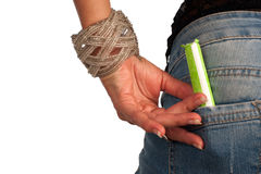 Tampon. Ready to use tampon in a jeans pocket Stock Images