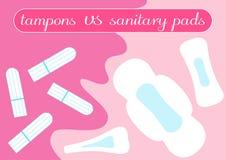 Tampon contre la comparaison de protections Produits d'hygiène féminins Illustration pour votre choix dans la période ensanglanté illustration stock